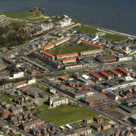 Seaham Town centre on a Sunday in 2006.Almost all of the modern aerial photographs on this site are here courtesy of Robert Hunter www.northeastenglandfromtheair.co.uk . On his site you will find aerial photographs of Seaham, County Durham towns and villages, Newcastle, Sunderland, Durham, Chester le St, Hartlepool,  Whitby and Northumberland.Prints can be purchased and also a superb book of 25 aerial photographs of Seaham.