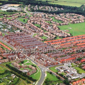 Low colliery in July 2003.Old Seaham Modern School, bottom right, Station Road running diagonally from right to left, Woodlands at top.Copyright FlyingFotos  www.seahamfromtheair.co.uk