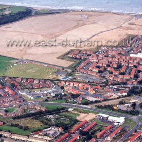 Low Colliery and Deneside in foreground, Denehouse Rd behind, Seaham Hall top left. Photograph c 2002.Copyright FlyingFotos  www.seahamfromtheair.co.uk