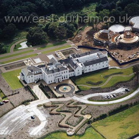 Seaham Hall Hotel with construction of Serenity Spa progressing well in 2002.Copyright FlyingFotos  www.seahamfromtheair.co.uk