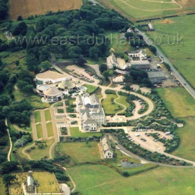 Seaham Hall Hotel in Aug 2003. New cemetary above.Copyright FlyingFotos  www.seahamfromtheair.co.uk