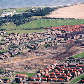 Eastlea in foreground, the scar of Seaham Colliery above , Northlea and the Low Colliery behind with Seaham Hall at top left. c 2003.Copyright FlyingFotos  www.seahamfromtheair.co.uk