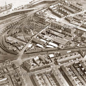 Pilot Cottages and Pilot Row top centre, Ropery Walk and Duckyard top right(the Duckyard is the walled yard immediately left of school and was originally the pottery) demolished 10 Sept 1934,the actual pottery was destroyed by fire, date not known. Foundry, Engineworks / Council yard then Elgey's Timberyard at centre.Foundry Houses right of Foundry The Braddyll and Lord St  below  c . THe Ropery was at the top of Ropery Walk south side and was totally destroyed by fire, date ? Chilterns Brewery in Lord St closed 1912 and was taken over by Stonehouse for Nimmo.  Photo 1928.