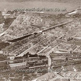 Seaham Harbour c 1930, building just beginning west of the railway line. The small park behind the Station was Wittons Park. The short road behind the Station Hotel joining the top of Malbro St to Cornelia Tce was known as York Rd and possibly York PlaceThe beginnings of Princess Rd and Maureen Tce in foreground