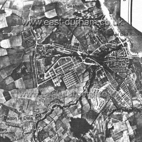 Photograph of Seaham taken by German plane in 1940, dock centre right.During the war there were 220 casualties including 51 killed in Seaham.Damage to houses,- demolished 31, necessary to demolish 121, seriously damaged and later demolished 293, seriously damaged and evacuated 268, slightly damaged 2,880, total 3,593.In addition, also damaged were 44 business premises, 14 public buildings,5 other buildings, 4 schools, 6 churches, 13 industrial establishments and 1 bridge, a total of 3,680 buildings damaged.If damage to glass only is included, a total of 4,270 houses were damaged.Seaham was the hardest hit district in County Durham.