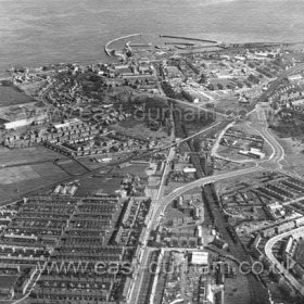 Seaham from the west in the 1960's.Marlborough St recently demolished new housing not yet built.Low Colliery area bottom centre and left, eastern end of Deneside bottom right.