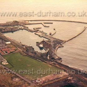 Seaham Docks from the south west, Gasworks and Bottleworks fields empty now for 30 years in 1980.