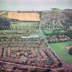 Dene House Road from the west 1980.Derwent Close in foreground, Deneway behind, then Baron's clothing factory and Crompton and Harrison's steel fabrication plant running left to Vane Tempest Colliery at top L. Tempest Ropad top right.