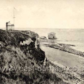 Looking north to the Coastguard Station and Featherbed Rock in the 1930s.