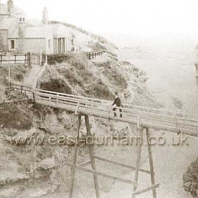 This is possibly one of  the earliest photographs of Seaham which can be dated with any certainty. This footbridge was erected in 1834, over what is popularly though incorrectly known as Bessies Hole, to Lady Londonderry's Baths ( 1834 - 1934 ). The bridge was reportedly demolished around 1860 when  the current coast road was opened ( 1861 )This stream probably carried a lot more water in the 1800s, there are reports of bridges in the Dene being washed away and A&E Gardens being floodedIn order to build the coast road the Dene was levelled using ballast from sailing ships, it was reported that the ships actually sailed into the Dene at high tide to unload the ballast where it was needed