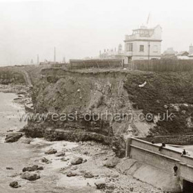 Terrace Beach and Coastguard Station on cliff top at end of Bath Terrace,  Bottlewoks in the distance. The mouth of the Dene, concreted and walled was I understand  intended to be used for live music and dancing but I am not sure this ever materialised.