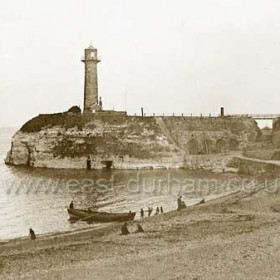 Old lighthouse, built 1836, interior burnt out 1856, restored by 1857, remained in use until 1905 and was demolished in 1940.Photo c 1890 possibly earlier.