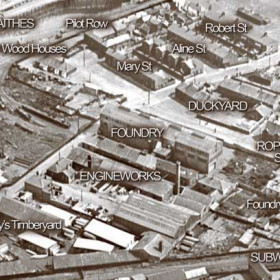 Aerial view of the Ropery Walk area in 1928.