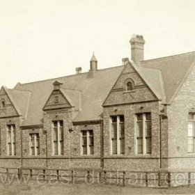 Ropery Walk School newly built in 1876, looking north to Jennings Foundry.