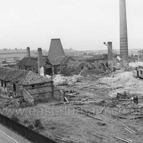 Candlish Bottleworks (1853 - 1921 ) demolished by 1950. Offices at left, Robert's Square in background. Photograph late 1940s.