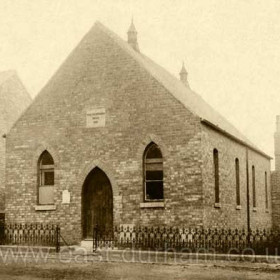 This Church was built in 1858, having developed from a mission at the bottleworks. later a new Church, Stewart Street Methodist Church, was built across the road in 1910, this building (pictured) then became the church hall. Photograph c 1900 possibly earlier.