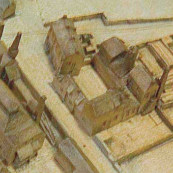 The pottery at centre in this 1864 model of Seaham, the building shown in the previous photograph can clearly be seen with outside staircase to the right though the chimney has gone on the photograph. The buildings to the right (south) of the square would appear to be the actual pottery with the other buildings providing housing for owner and staff.