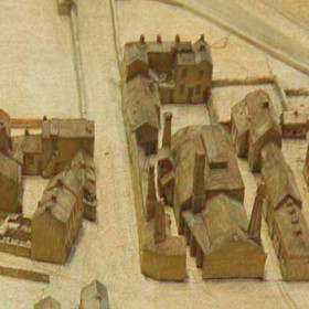 Seaham Model 1864.View from the east, pottery at left, Foundry at centre with Foundry Buildings above, Londonderry Engineworks at right.