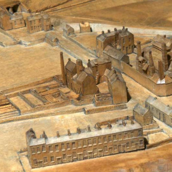 Another view from the model, Pilot Row in Foreground, pottery above then Foundry complex, Ropery at top left near rail bridge.