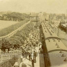 Troops leaving from Castle Eden Station during WW1.