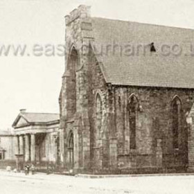 Wesleyan Chapel in Tempest Rd around 1900. Originally erected by the Independent Methodists in 1856 it was sold in 1881to the Wesleyans. The attached sunday school was built in the 1880s. Demolished and replaced with modern chapel in 1976.