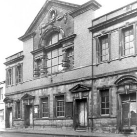 United  Methodist Chapel in Church St  in the 1980's. Built in 1846 it was enlarged in 1866 and 1877 to seat 750.  United Methodists originally worshipped in a Tabernacle in an upstairs room here. Their new chapel on this site was burnt out in 1904, services were then held in the Theatre Royal  until it was rebuilt with help from Londonderry family.