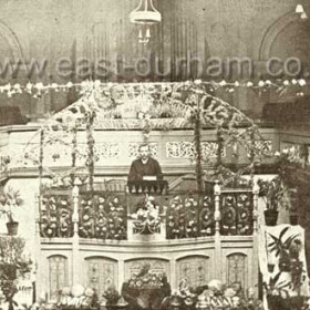 Last Harvest Festival in United Methodist Chapel in Church St before being destroyed by fire in 1904