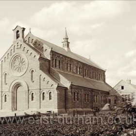 The current catholic church of St Mary Magdalene, built 1907. Photograph taken around that time.
