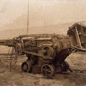 Cutting machine with loader in Virginia, 1908.