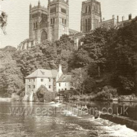 Durham Cathedral with Fulling Mill below. Over 900 years old, the cathedral contains the remains of Cuthbert, the 7th Century bishop of Lindisfarne and the tomb of Bede, England's first historian. One of the most beautiful buildings in England.