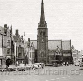 Durham Market Place in the 1960s, police traffic control box to right. A world first for Durham!. In 1960, the traffic control box in Durham market place became the first in the world to be fitted with television screens to control the traffic. They were connected to two cameras, one at the bottom of Silver Street looking at Framwellgate bridge and the other in Saddler Street looking at Elvet bridge. The control box became obsolete when new bridges were built and the market place no longer had all the through traffic. Caption from Malcolm Fraser
