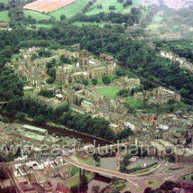 Durham City from the air in 1980.