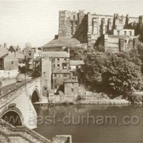 The 900 year old Durham Castle with Framwellgate Bridge and River Wear in foreground. Thanks to Jon for correction. Through traffic was diverted away from this old bridge in the mid 1960's. MF