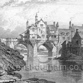 Old print of Elvet Bridge.