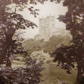Durham Cathedral c 1895.  This photo was taken from what is probably the most dramatic angle of all views of the Cathedral, and has been repeated many many times.    Caption, Malcolm Fraser