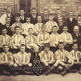 Seaham Villa Association Football Club 1899Back row left to right: W Wood (trainer ), T Nesbit ( com ), W Fletcher ( com ), W Wallage ( treas ), E Hall ( vice pres ) ,J Coats (com )3rd row left to right: W Hall ( chairman ), D Mead ( secretary ), W Miller, T Mavin, T Coates, R Robinson, A Glenwright (com ), J Thompson ( com )2nd row left to right: D Wales ( com ) J Furness J Moffat ( capt ) C Proctor D Templeton N Brown R Martin W Wood ( vice-pres ) Front row left to right: R Watason ( com ) G Barker R Atkinson C Jefferies J Cockburn W Miller R Hall ( vice-pres )
