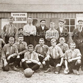 "Seaham White Star F C 1904.Back Row, ""Stumpy"" Miller, Breeze, Chisholm, Williamson, Harris, Wm Ferguson.Front Row, Newby, Bell, Baxter, Jeffery, Hood, Stark, Kelly, Cole.  From  1895 they played on the gasworks field, immediately south of the gasworks. in 1907 they moved to the Bungalow field opposite SH Cricket club.Incidentally Mr Thompson of the Rose & Crown Ch St was elected to the council"