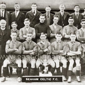 Seaham Celtic FC in 1935, formerly Seaham St Cuthberts.Back Row, L to R,  R Parker (Com), G O'Connor (Com), P Lennon (Com), E Haggan, W Elliot (Chairman), J M McDonough (Treas), E Bacon (Com).2nd Row, W Wallace (Sec), Rev Fr M J Haggarty (Pres), F Brace, H Brace (Capt), J Elliot, A Givens, D Sharvin, R Brown, O Garrigan (Train).Front Row, O Haggan, J O'Connor, T Elliot, T Clark, B McQuillan.