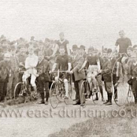 Bicycle race in Seaham, location not known but possibly Seaham Flower Show at Seaham Hall grounds which from the mid 1850s held cycling and track events.