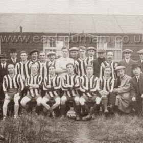 Seaham Harbour Cricket Club, AFC believe it or not in front of the British Legion Club in 1910.(hut opp police stn in Tempest Rd)Mr Cooper front right (kneeling)