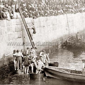 Annual Regatta day in the dock 1896Two drownings when a cobble capsized in 1886 and several unsurprising accidents involving spectators during the 90's caused this event to be abandoned. Photograph, Aug 13 1896Seaham's first regatta was held on 30th July 1835