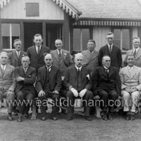 Seaham Harbour Cricket Club c 1940?Back Row; John Holland, Mr Armbrister, Billy Mayhew, E Whitelock, Mr Leighton, Cud Harrison.Front Row; John Scott, My Moon,   ?, Sir Malcolm Dillon, Mr Claxton, Mr Tomlin, Mr ShawThere are six men in the back row but only five names, can you help?