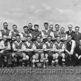 Seaham Colliery Welfare FC, winners of the Wearside League and Seaham Aged Miners Cup 1946/47Back Row L to R. Dick Young, Harry Oliver (Treasurer), ?, ?, Bill Lucas, Owen McGann, Jack Gleghorn,Jack Lumsden, ?, Dormond, ?, Charlie Lister, Harry Ruddock, Fred Gleghorn, Reuben Charlton, ?, Sitting; Bill Smith (Trainer) , Arthur Lanes, Dave Smith, Tot Cowell, Harry Dixon, Wilf Archer, Bob Farn (Trainer), Jack Richardson.