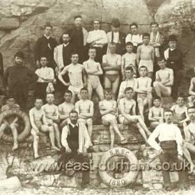 Seaham Harbour Swimming Club in 1880 (boys), it would be forty years before women were allowed to join.Front left is James Temple Wightman who was swimming instructor for many years.Born in 1844 in Newcastle, in 1881 he was lodging at 25 Church St, probably single, by 1891 he was married with a daughter and living above his own Chemist/Druggist business at 59 Church St. .