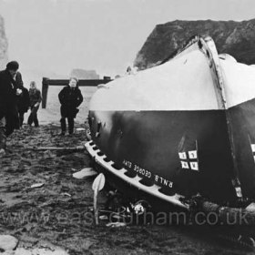 """RNLB George Elmy on the Chemical Beach, just off Dawdon colliery on the morning of Sunday 18th November 1962 after capsizing the previous night with the loss of nine lives. See """"LIFEBOAT DISASTER"""" under SEAHAM/ HISTORIES."""