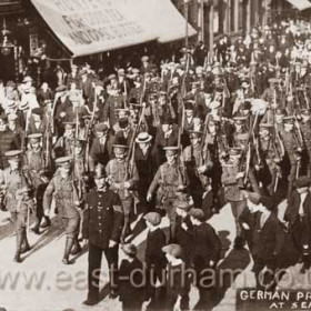 Arrested crew of German collier Comet being marched up Church St past the shop of Hunters the Teamen Ltd at No 61 shortly after outbreak of war 11/9/1914 Seaham was shelled by a German sub on the night of Tuesday 7/7/1916, Mrs Mary Slaughter was killed near the High Pit Yard