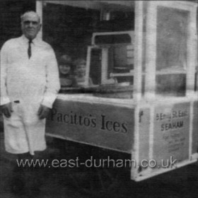 Frank Pacito with his ice cream barrow. Frank was trading from his shop in Church St until the 1960s when his shop and that of Billy Hoare (butcher) next door were bought by Fine Fare, Seaham's first supermarket.