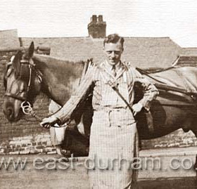 Alfie Donaldson, of Websters Butchers possibly at back of William St  1930.