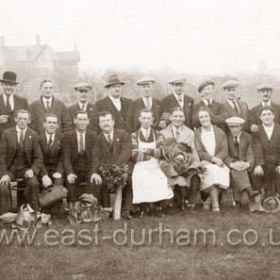 Leek and vegetable show at British Legion Club (Wooden building at top of dene opp Magdalen Court, Tempest Rd. ) 6th from left standing  (trilby) Joe Coyle 25th oct 1931