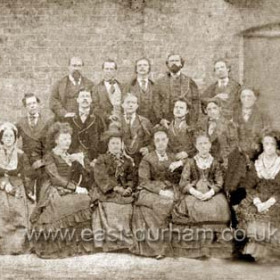 Theatre Royal, cast on opening night.  Records differ as to the date of the first night, acc to Tom Mcnee it was July 26 1875 with ' The Two Orphans ' while the caption on the original of this picture states - First Company, Theatre Royal, Seaham Harbour. Opened November 11th 1873. Demolished in the late 1890's by the new owner Ac Harrison it was rebuilt on the same site.